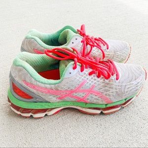Asics Gel-Nimbus 17 White Coral Green Running Shoe